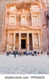 PETRA - JORDAN, FEBRUARY,21: SYmbol of Petra - Treasury Monument and plaza in antique city on 21 February, 2012 in Petra, Jordan. Petra has been a UNESCO World Heritage Site since 1985