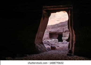 Petra, Jordan - January 9 2018: The archeological remnants of the Nabataean Kingdom.