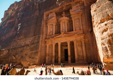 """Petra, Jordan - January 9 2018: Al-Khazneh, or """"The Treasury"""" is a temple in the ancient Arab Nabatean Kingdom city of Petra. It is 2,000 years old."""