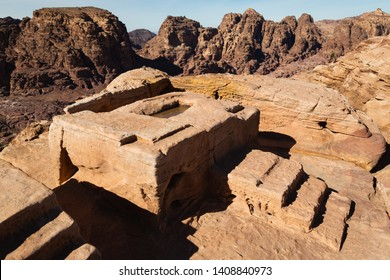 Petra, Jordan - January 9 2018: An ancient sacrificial altar.