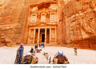 Petra, Jordan- March 16, 2017: Views of the Lost City of Petra in the Jordanian desert, one of the Seven Wonders of the World.