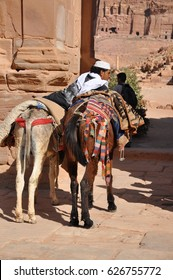 Petra, Jordan - March, 20, 2013: View of ancient nabatean city Petra (Al Kazneh) from camels, Jordan