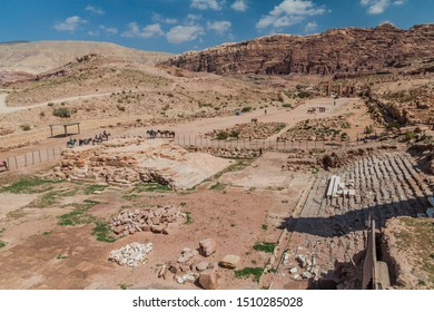 PETRA, JORDAN - MARCH 24, 2017: Ruins in the ancient city Petra, Jordan