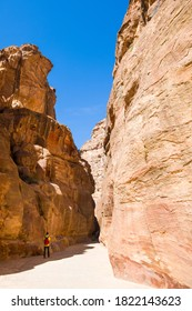 Petra, Jordan - March 9, 2019: Tourist on excursions in the ancient Nabatean city of Petra,  Jordan