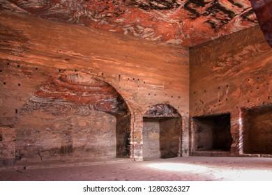 Petra, Jordan, November 12, 2018: Inside the Urn Tomb, Petra Jordan.