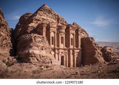 PETRA, JORDAN - NOVEMBER 20, 2018: addeir monastery, Petra Jordan