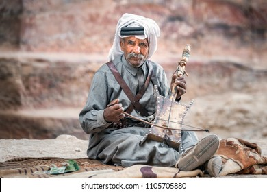 PETRA, JORDAN - OCTOBER 24, 2016: Portrait of local Bedouins in Petra, Jordan.