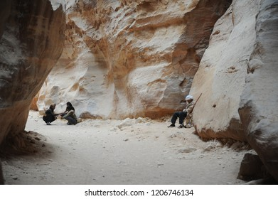 Petra, Jordan - September 30th, 2018: guardians and guides resting at the entrance of the archaelogical park of Petra, in Jordan