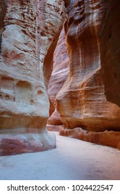 Petra, Jordan - Siq canyon, which goes to the ancient city of Petra, Wadi Musa, Middle East