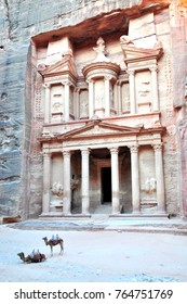 Petra, Jordan: The treasury, with two camels.