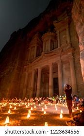 Petra, Jordan-October 2018 : Petra by night at Al-Khazneh or the Treasury, Petra, Wadi Musa, Jordan.