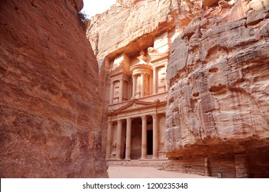 Petra. The name Treasury is derived from a tale that an Egyptian pharaoh hid a treasure here, but it fact the Treasury is a tomb for one of the Nabataean kings who built the city from 600 BC