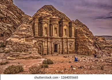 Petra - October 01, 2018: Monastery of the ancient city of Petra, Wonder of the World, Jordan