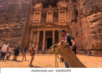 Petra - October 01, 2018: Treasury of the ancient city of Petra, Wonder of the World, Jordan