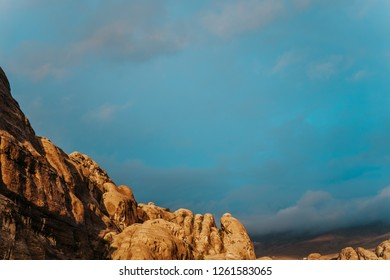 Petra rocky mountains in the yellow sunset light, the ancient city in Jordan in the Middle East.