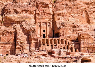 Petra - touristt complex of ancient city. Popular tourist destination and landmark in Jordan.