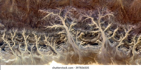 Petrified Forest in winter, abstract photography of the deserts of Africa from the air, bird's eye view, abstract expressionism, contemporary art, optical illusions,