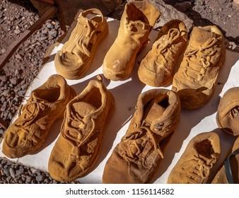 Petrified objects souvenirs made with mineral sediments sold at Puente del Inca or Inca Bridge near Cordillera de Los Andes - Mendoza Province, Argentina