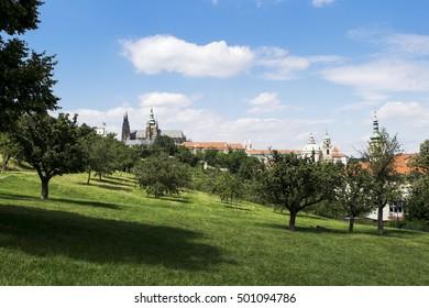 Petrin Hill park in Prague. View on the St. Nicholas Church