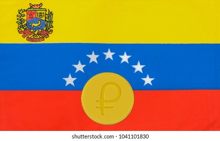 petro (cryptocurrency) coins on Venezuelan flag (Cryptocurrency, Petro Concept)