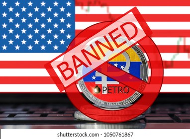 Petro (PTR) banned in the USA. El petro (National Venezuela cryptocurrency) coin on the United States flag background
