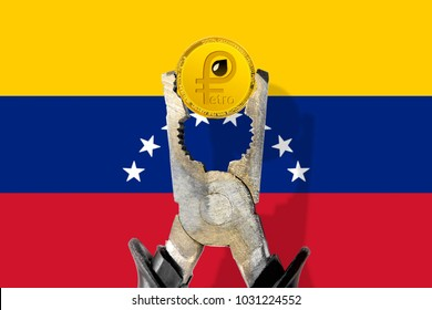 PETRO (PTR) coin being squeezed in vice on the Venezuelan flag background; concept of cryptocurrency PETRO under pressure; regulations. National Venezuela cryptocurrency