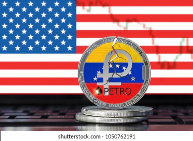 PETRO (PTR) coin with cracks on the United States flag background; ban on petro (national Venezuela cryptocurrency) in the USA