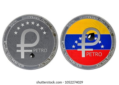 Petro (ptr) coin isolated on white background; Venezuela petro cryptocurrency