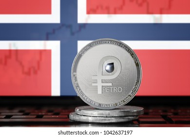 PETRO (PTR) cryptocurrency; coin el petro on the background of the flag of NORWAY; national Venezuela cryptocurrency