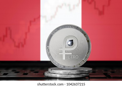 PETRO (PTR) cryptocurrency; coin el petro on the background of the flag of PERU; national Venezuela cryptocurrency