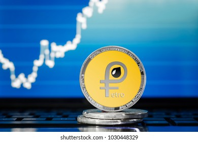 PETRO (PTR) cryptocurrency; Venezuela petro coin on the background of the chart