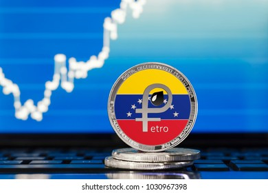 PETRO (PTR) national Venezuela cryptocurrency; petro coin with the flag of Venezuela