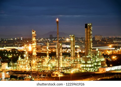 Petrochemical at blue night sky