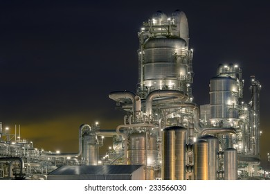 Petrochemical factory at night.