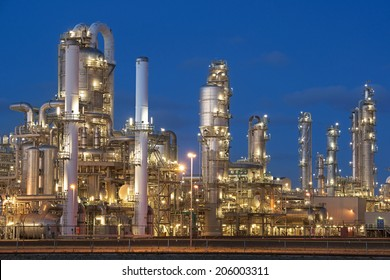 Petrochemical factory in twilight.