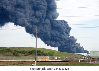 Petrochemical Fire. A plume of smoke rises from a petrochemical fire at the Intercontinental Terminals Company, in Deer Park, Houston, Texas, US