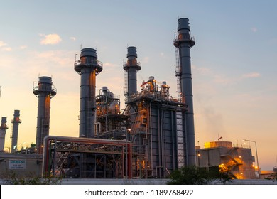 Petrochemical Industrial. Oil refinery and Oil industry at sunset