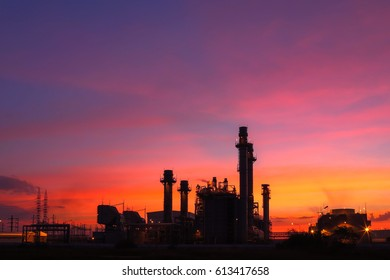 Petrochemical industrial plant power station at sunset and Twilight sky view,Amata City Industrial Thailand