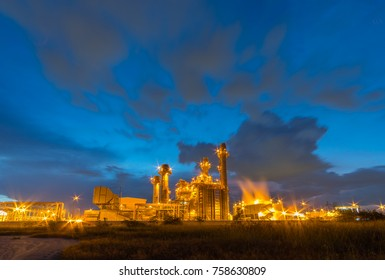 Petrochemical Industrial and power plant energy at night