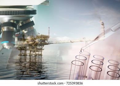 Petrochemical industry concept, Investigator checking test and oil rig.