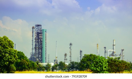 petrochemical industry plant with blue sky