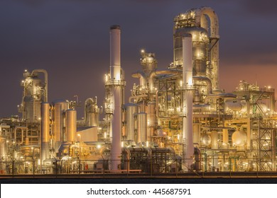 Petrochemical installation in twilight.