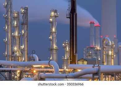 Petrochemical plant at dusk, Maasvlakte, Europoort, The Netherlands