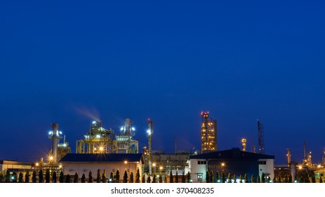 Petrochemical plant in night time.