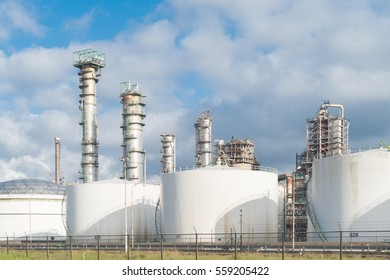 Petrochemical plant with oil fluid storage silos in the Rotterdam harbor area