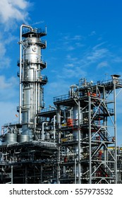 Petrochemical plant, oil refinery factory with cloudy sky
