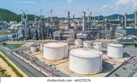 Petrochemical plant on blue sky background, Oil refinery plant