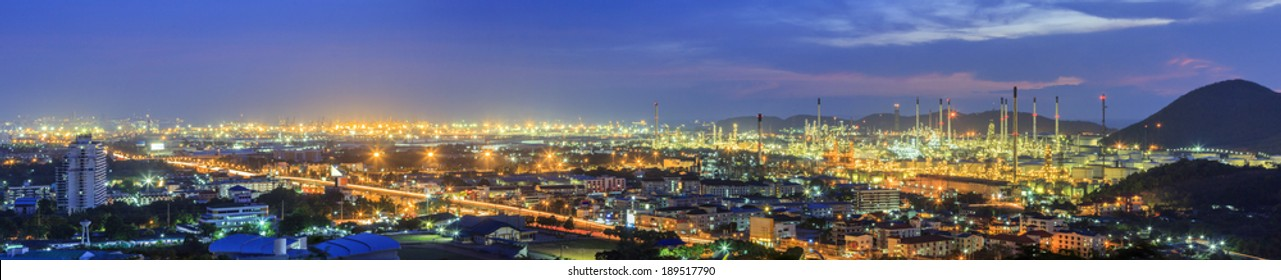 Petrochemical plant at panorama view in twilight sky
