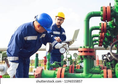 Petrochemical workers working at refinery plant