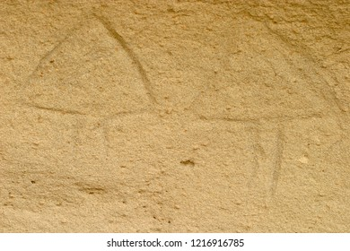 Petroglyph art, Native American incisions in rock, religious spiritual figures, White Mountain Petroglyphs, Wyoming, USA
